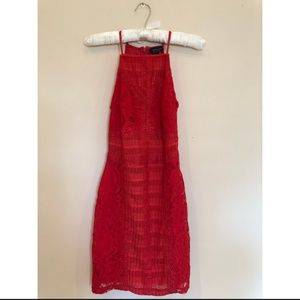 TOPSHOP Red Cocktail Lace Dress - Size 0